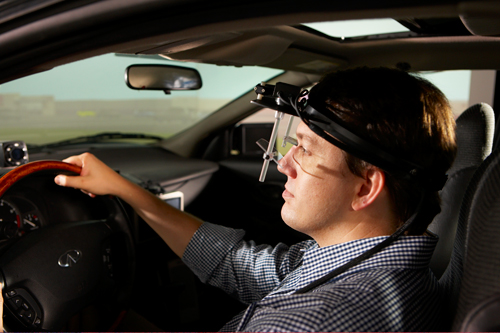 driver wearing eye tracker